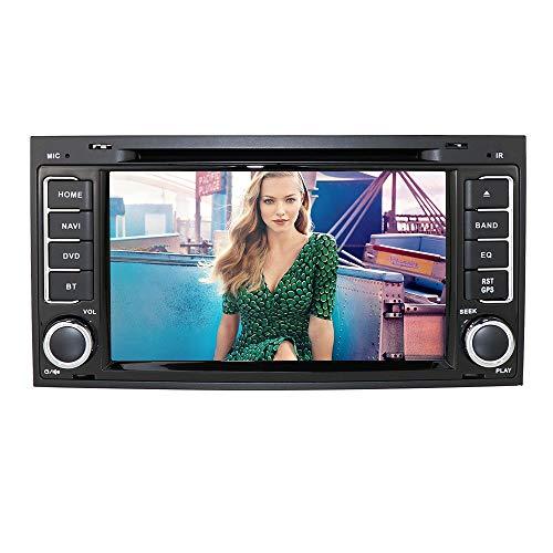 Radio de coche 2 Din Vehículo Reproductor de DVD especial para VW (Touareg Transporter T5 Multivan) con pantalla capacitiva de 7 pulgadas Enlace espejo Espejo Bluetooth GPS Control del volante RDS USB