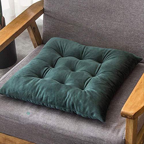 NoNoNo Velvet Solid Square Cushion Decoratieve zitkussen, vloermat, Office Sofa Car achterbank bekleding kruk kussen 50x50cm donkergroen