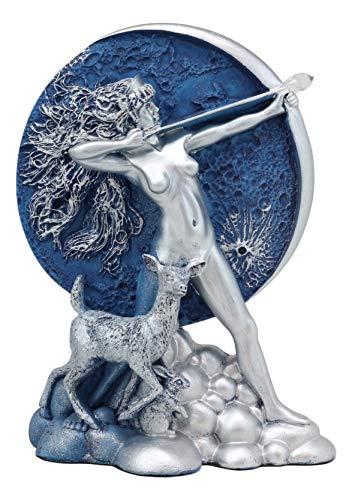 Ebros ギリシャの狩りの女神 ダイアナ 弓と矢 コンパニオン付き 鹿の像 オベロン ゼル アルテミスの彫刻 高さ7.5インチ フェミニスト エンパワーメント トリプル女神アクセント ホームデコレーション
