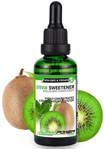 ALPHA POWER FOOD®: Stevia líquida natural - Stevia Gotas de kiwi, Edulcorante natural, sustituto del azúcar con sabor - sin azúcar & calorías