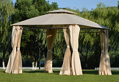 Patio Double Tiered Grill Canopy Outdoor Fabric BBQ Gazebo Tent with Mosquito Netting and Shade Curtains, Sturdy Straight Leg Tent with UV Protection for Backyard Lawn Party Event, Beige (127x127 in)