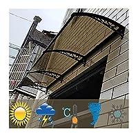 PTY 庇 ひさし雨よけ ドア窓のキャノピー、ポーチの日付のポーチ屋外のパティオポリカーボネート太陽の濃いシェルターレインスノーヘブカバーオーバーヘッドキャノピー (Color : Black, Size : 100cm x 80cm)