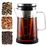 Hot Brew Coffee Maker/Tea Infuser Pitcher - Glass Coffee Tea Brewer Makes the Perfect Cup of Coffee or Tea. 12oz With a Cone Filter to Perfectly Brew Hot Beverages