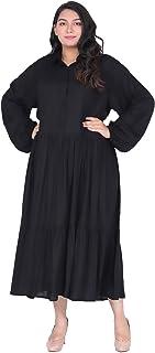 Lastinch Women's Plus Size Black Tiered Maxi Dress