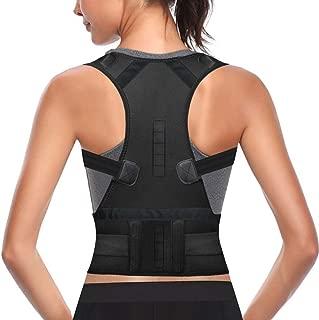 Back Brace Posture Corrector Fully Adjustable Support Belt Magnetic Support and Lumbar Lower Back Brace Provides Back Pain Relief (Black, X-Large)