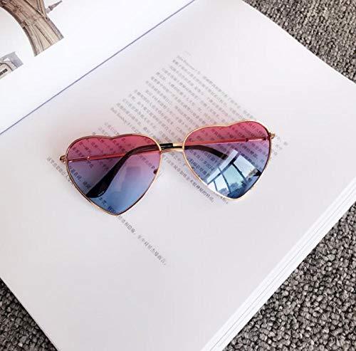 BHLTG Gafas de Sol para Mujer Marea Personalidad Moda Dulce Lindo Peach Heart Gafas de Sol japonesas Gafas de Sol Transparentes Playa Espejo-4