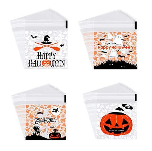 YOUYIKE Halloween Süßigkeit Tüten,200 Stück Süßigkeit Plätzchen Taschen,Selbstklebende Klar Tasche,Benutzt für Keks Snacks,Dessert, Hausgemachtes Handwerk Tüten(4 Stile)