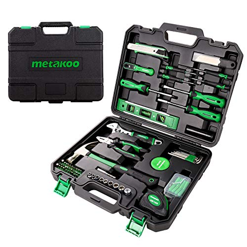 Tool Kit for Home, METAKOO 124 Pcs General Household Hand Tool Kit with Plastic Toolbox Storage Case, Plating Surface, Cr-V Garage Repairs Tool, Essential Tool, Housewarming Gift, MTS01H