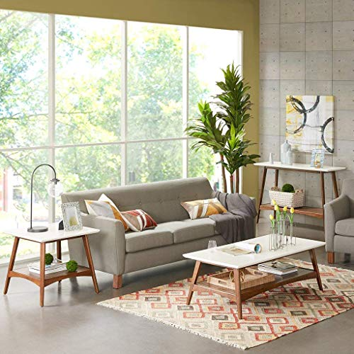 Madison Park Parker Coffee Tables-Solid Wood, Two-Tone Finish with Lower Storage Shelf Modern Mid-Century Accent Living Room Furniture, Medium, Off-White/Pecan