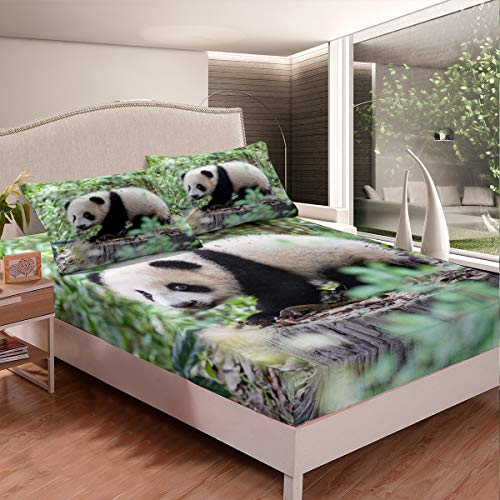 Loussiesd Juego de cama Panda para niñas y niños, diseño de animales, sábana bajera decorativa, diseño de oso panda panda de dibujos animados gigante diseño cama cama tamaño King 3 piezas