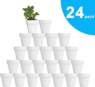 vensovo 24pcs White Terra Cotta Pot - 2.5 Inch Tiny Mini Clay Pots with Drainage Holes Flower Nursery Terra Cotta Pots for Indoor/Outdoor Succulent Plants, Crafts, Wedding Favor