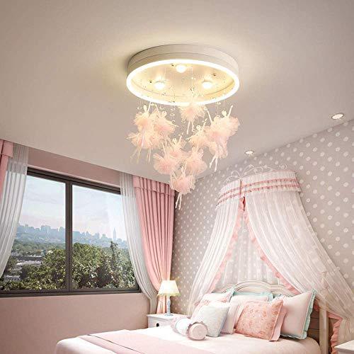 WEM Moderna luz de techo para dormitorio infantil Lámpara de techo redonda LED Control remoto Regulable Gotas de cristal creativas Luz colgante Habitación de niñas Habitación de princesa Modo