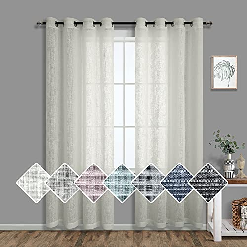Greyish Beige Curtains 84 Inch Length for Bedroom 2 Panels Set Grommet Semi Sheer Burlap Natural Sand Colored Linen Look Tall Cream Curtain for Living Room Boho Rustic Farmhouse 52x84 Long Grayish Tan