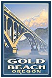 Gold Beach Oregon Bridge Giclee Art Print Poster from Travel Artwork by Artist Paul Leighton 12' x 18'