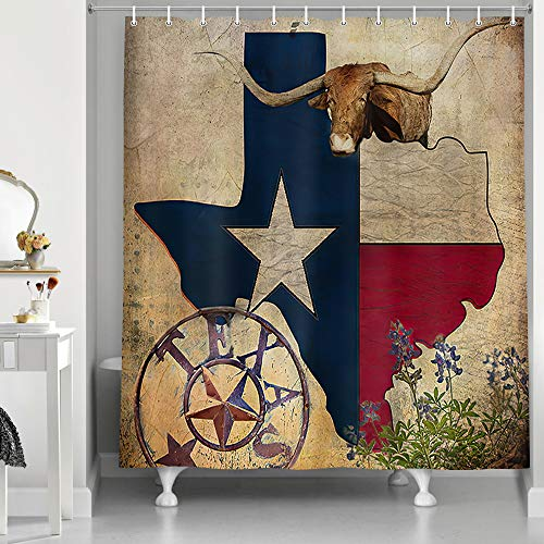 Rustic Western Lodge Cabin Farm Animals Freedom Highland Cow Bathroom Shower Curtain, American Southwestern Farmhouse Texas Star with Floral Flower in Vintage Fabric Curtain Set with Hooks, (69X70in)