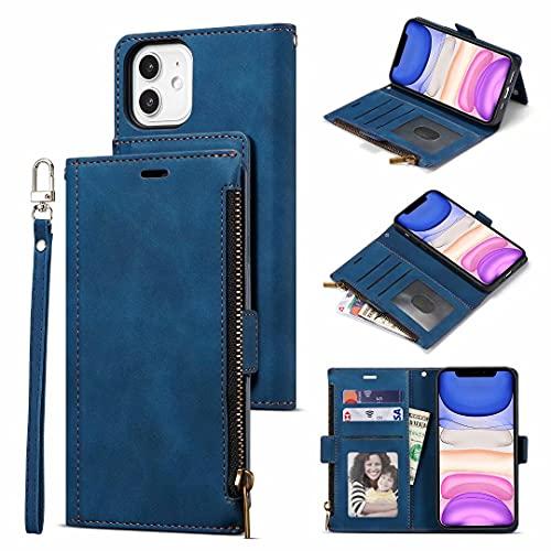 Funda tipo cartera compatible con Samsung Galaxy A22 5G, piel sintética a prueba de golpes con 9 ranuras para tarjetas, correa para la muñeca, funda protectora para Samsung Galaxy A22 5G azul