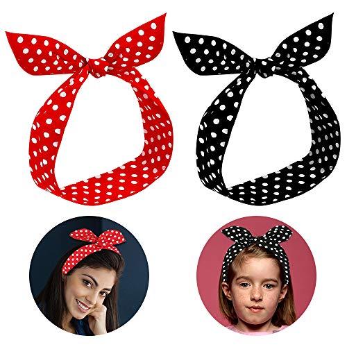 Stirnbänder Damen, 2 Stück Haarband Rockabilly Kopfband Frauen Haarband Bow Draht Biegbar Stirnband mit Polka Punkt, Rot Retro Haarschmuck für Damen Mädchen Geschenk