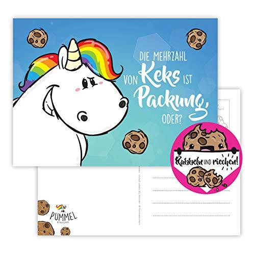 Pummeleinhorn Postkarte mit Duft (quer) - Mehrzahl von Keks