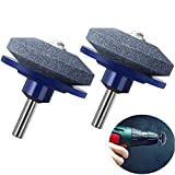 SuperThinker Lawn Mower Blade Sharpener Universal for Any Power Drill/Hand Drill,Lawnmower Blade Sharpen Grinder Wheel Stone for Lawn Mower & Mower Blades (2 Pack)