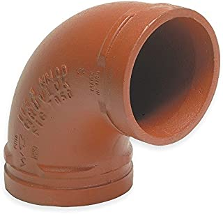 Anvil International 0390014389 Series 7050 Gruvlok Ductile Iron Standard 90 Degree Elbow Fitting for Grooved End Pipe, 8
