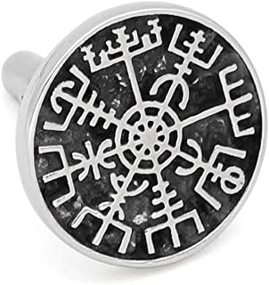 GuoShuang 1 Pair Stainless Steel Nordic Viking Rune Compass Amulet Cufflinks Small Size with Valknut Gift Bag