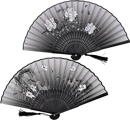 Abanico Abanicos para Pintar Abanico de Mano Plegable 2 Piezas Seda Abanicos Pintados Hechos a Mano de Bambú Abanicos Boda para Invitados Actuación / Baile / Decoraciones / Artesanía/Regalo
