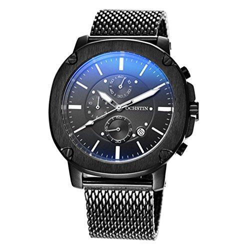 XINLEE Herrenuhr Zeiger zeigt Multifunktions DREI-Pin wasserdichtem Leder Gürtel Uhr, 002