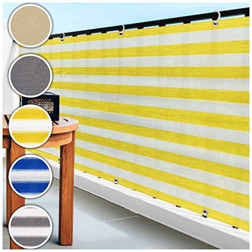 casa pura Balkon Sichtschutz UV-Schutz | 90x500cm | wetterbeständiges und pflegeleichtes HDPE-Spezialgewebe | gelb-weiß gestreift