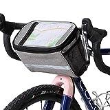 Bolsa de bicicleta para el frente, bolsa de manillar de bicicleta con ventana de PVC transparente, bolsillo frontal aislado con reflectante, bolsa de manillar de bicicleta, marco de bolsa de bicicleta