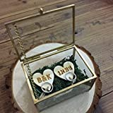 mylifemylove - Caja de anillo de cristal para boda, almohada de cristal personalizada, caja para anillos de boda, regalo de boda moderno personalizado
