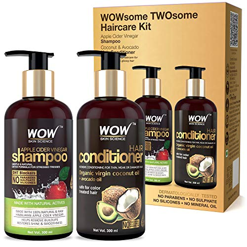 WOW Apple Cider Vinegar Shampoo and Organic Virgin Coconut oil plus Avacado Oil Conditioner- WOWsome Twosome No Parabens & Sulphates Hair Care Package...