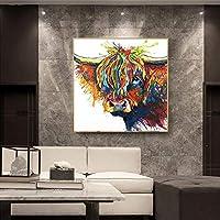 抽象的なカラフルなハイランドバターアート画像のポスターとキャンバスにプリントホームベッドルームリビングルームオフィス装飾壁画