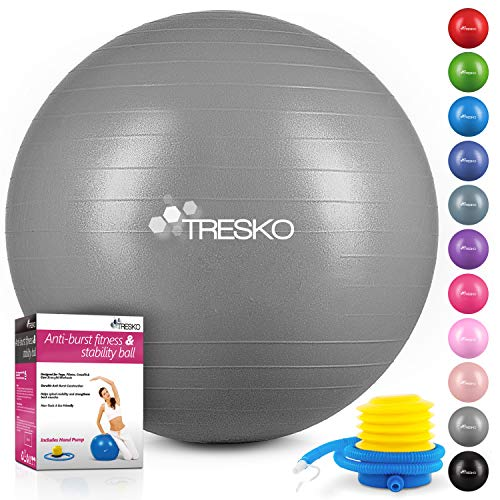 TRESKO® Anti-Burst Gymnastikball 55cm 65cm 75cm 85cm | Sitzball | Yogaball | 300 kg | mit Luftpumpe (Grau, 65cm (geeignet für 155-175cm))