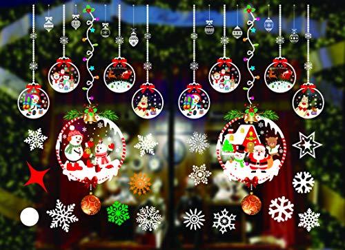 KATELUO Weihnachtsfenster Aufkleber, fensterdeko Weihnachten, Party Neujahrsbedarf, DIY-Dekorationen für Türen, Fenster, Vitrinen und Glasscheiben, Wiederverwendbare PVC-Wandaufkleber (JC-A54)
