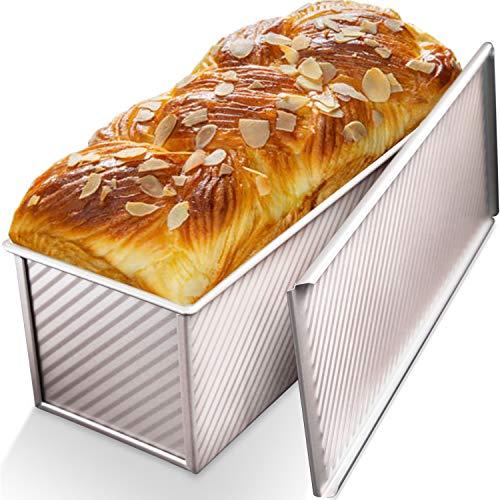 CHEFMADE Molde para pan con tapa, pan comercial Pullman con capacidad de masa de 2.2 lb, utensilios para hornear antiadherentes Molde para tostadas de pan de acero al carbono con tapa para hornear pan