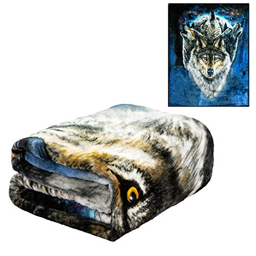 JPI Plush Throw Blanket - Lunar Wolves - Queen Bed 79'x 95' - Special Edition Faux Fur Blanket for Beds, Sofa, Couch, Picnic, Camping