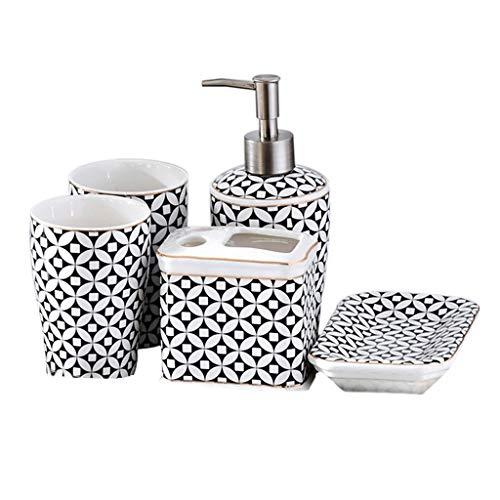 Dispensadoras de jabón Dispensador de jabón de baño determinada de la manera europea de cerámica de 5 piezas cepillo de dientes titular, dispensador de líquido, jabón caja, 2 Copas de enjuague bucal a
