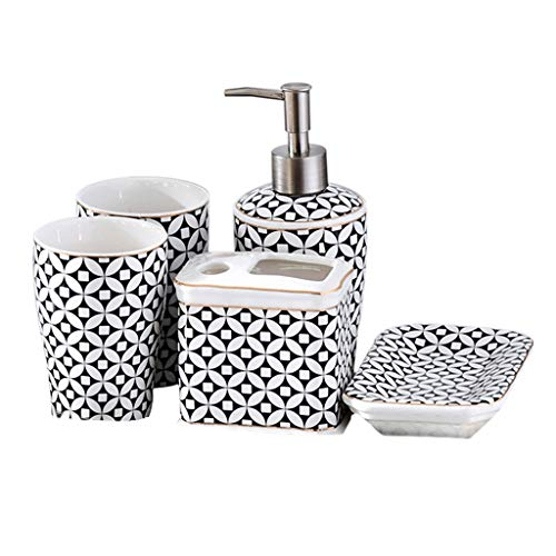 Lotion Dispenser Soap Dispenser Bathroom Set European Fashion Ceramic 5-Piece Set Toothbrush Holder, Liquid Dispenser, Soap Box, 2 Mouthwash Cups Bathroom Accessories Best Gift Easy to Refill