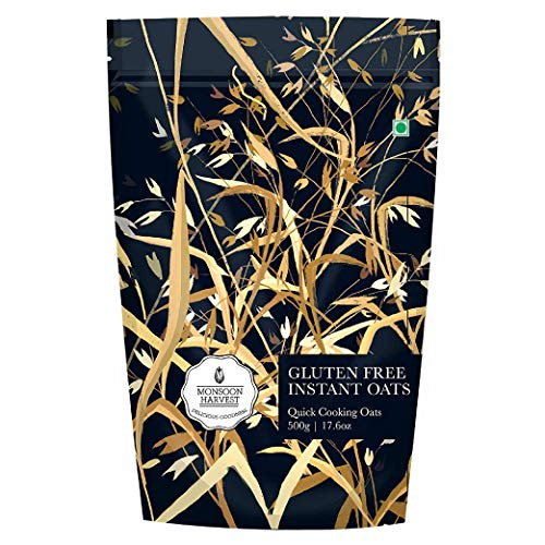 Monsoon Harvest Gluten-Free Instant Oats (500 g) - Quick and Tasty Breakfast with High Protein & Dietary Fiber, Healthy & Gluten...