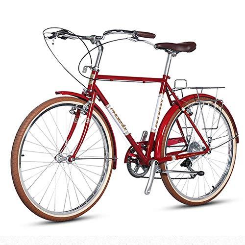 AZYQ Bicicleta de carretera retro, bicicleta de cercanías de mujer de acero al carbono de alta velocidad de 7 velocidades, liberación rápida, freno doble V, perfecto para carretera o Dirt Trail Touri