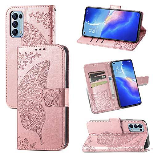 JIUNINE Hülle für Oppo Find X3 Lite 5G, Handyhülle Leder Flip Hülle mit Schmetterling Muster [Kartenfach] [Magnetverschluss] Schutzhülle Tasche Cover Lederhülle für Oppo Find X3 Lite 5G, Roségold