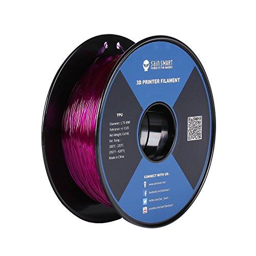 SainSmart Filamento flessibile in materiale TPU per stampanti 3D, 1,75mm, matassa da 800g, viola