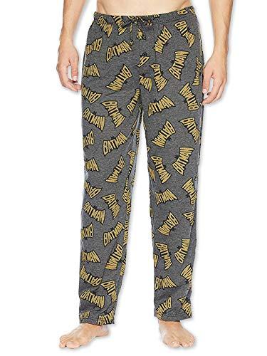 DC Comics Herren Pyjamahose, Batman-Logo, leicht, Polyester, Größe S, Grau
