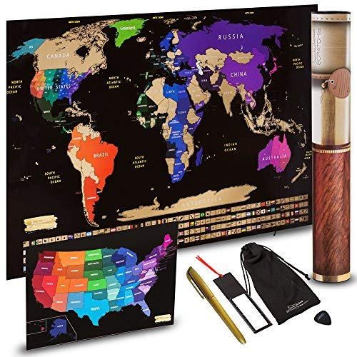 Scratch off World Map + Scratch off USA Map Travel Poster | US States And World Country Flags Detailed In Large 30' x 17' Size Scratchable Tracker Poster | Premium Travelers Wall Set (Black / Gold)