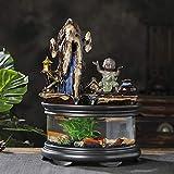 Fuente de jardín Cubierta Zen en cascada Fuente de la cascada de cristal del tanque de peces con bomba, cubierta de cerámica Relax fuente decorativa for la seguridad del tablero Fuente Decorativa Inte