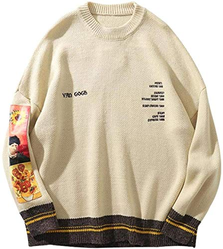 Hip Hop Fashion Sweater Pullover Men Van Gogh Painting Embroidery Knitted Sweater Streetwear Tops Casual Pullover