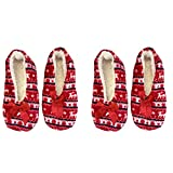allgala 2-pk women girl super soft light weight fuzzy winter plush slippers red
