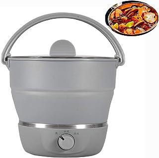 Jarchii Caldero eléctrico, caldero eléctrico Plegable Multifuncional Olla portátil Cocina de Viaje para el hogar 100-240V Cocinar Puede cocinar Fideos Hacer una Olla Caliente o Sopa de estofado(#1)