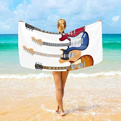 Jacklee Mikrofaser-Strandtücher elektrische gitaren großes Reise-Handtuch – Ultra saugstark, schnell trocknend Gym Handtuch für Männer, Frauen und Kinder