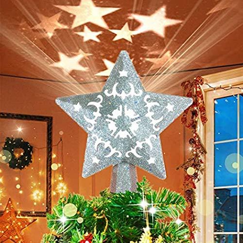 OGlink luz superior del árbol de Navidad, estrella de oro i